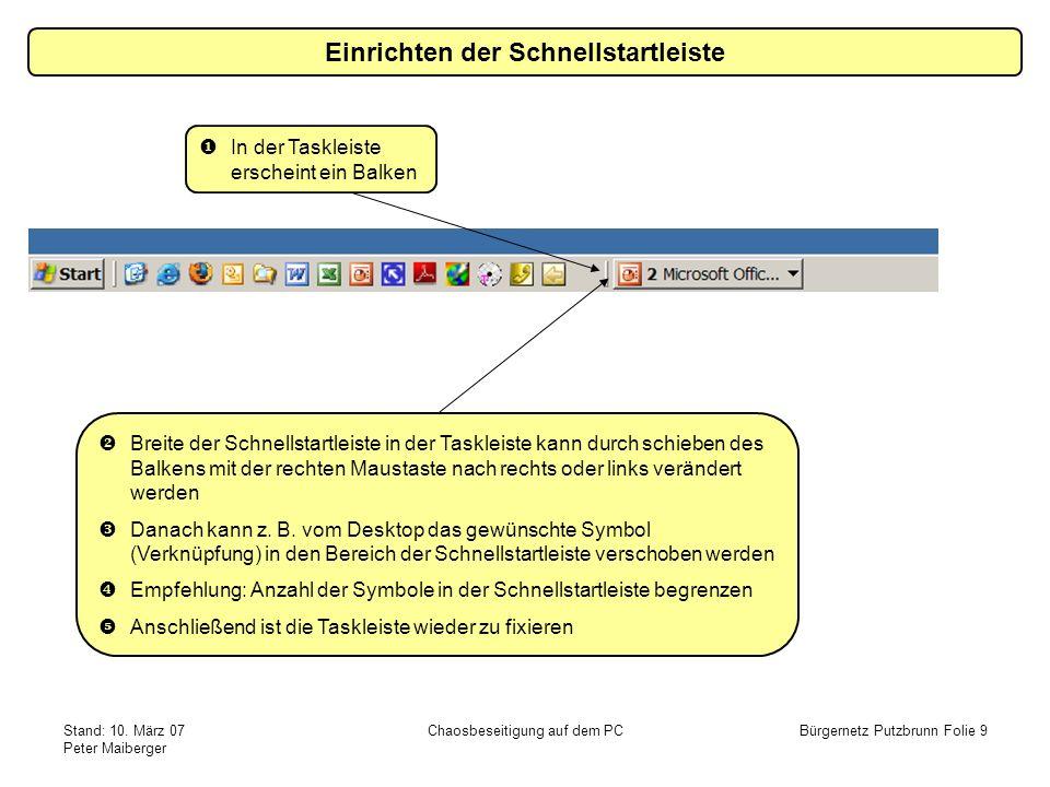 Stand: 10. März 07 Peter Maiberger Chaosbeseitigung auf dem PCBürgernetz Putzbrunn Folie 9 In der Taskleiste erscheint ein Balken Breite der Schnellst