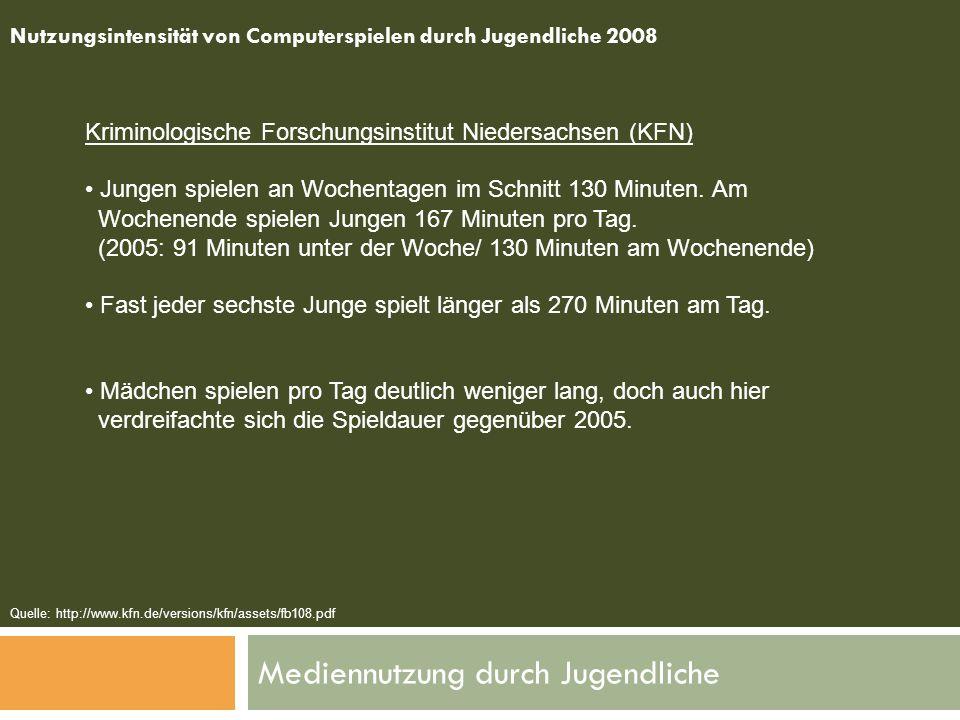Mediennutzung durch Jugendliche Nutzungsintensität von Computerspielen durch Jugendliche 2008 Kriminologische Forschungsinstitut Niedersachsen (KFN) J