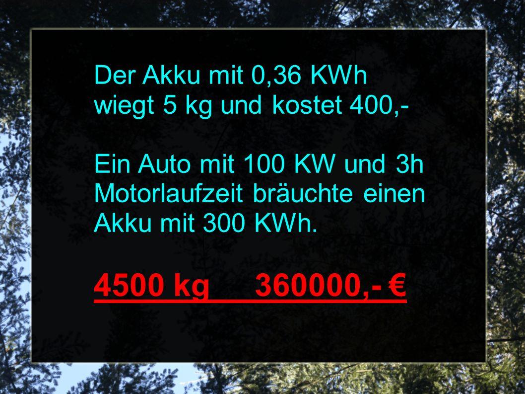Der Akku mit 0,36 KWh wiegt 5 kg und kostet 400,- Ein Auto mit 100 KW und 3h Motorlaufzeit bräuchte einen Akku mit 300 KWh.