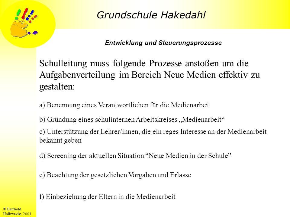 Grundschule Hakedahl © Berthold Halbwachs, 2001 Entwicklung und Steuerungsprozesse Schulleitung muss folgende Prozesse anstoßen um die Aufgabenverteil