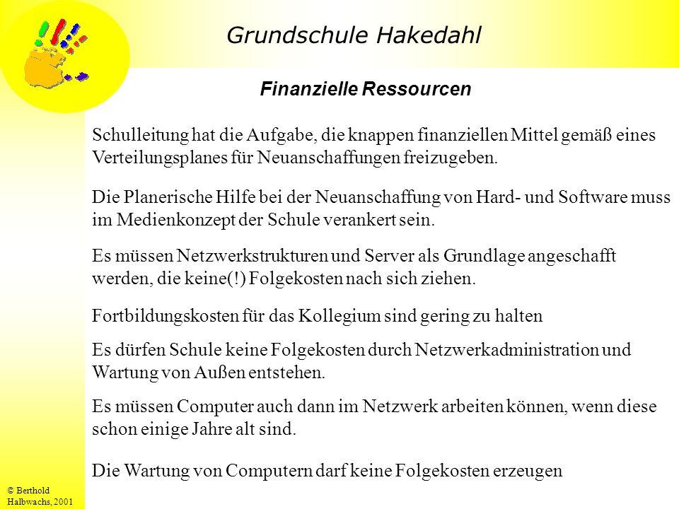 Grundschule Hakedahl © Berthold Halbwachs, 2001 Die Wartung von Computern darf keine Folgekosten erzeugen Finanzielle Ressourcen Schulleitung hat die