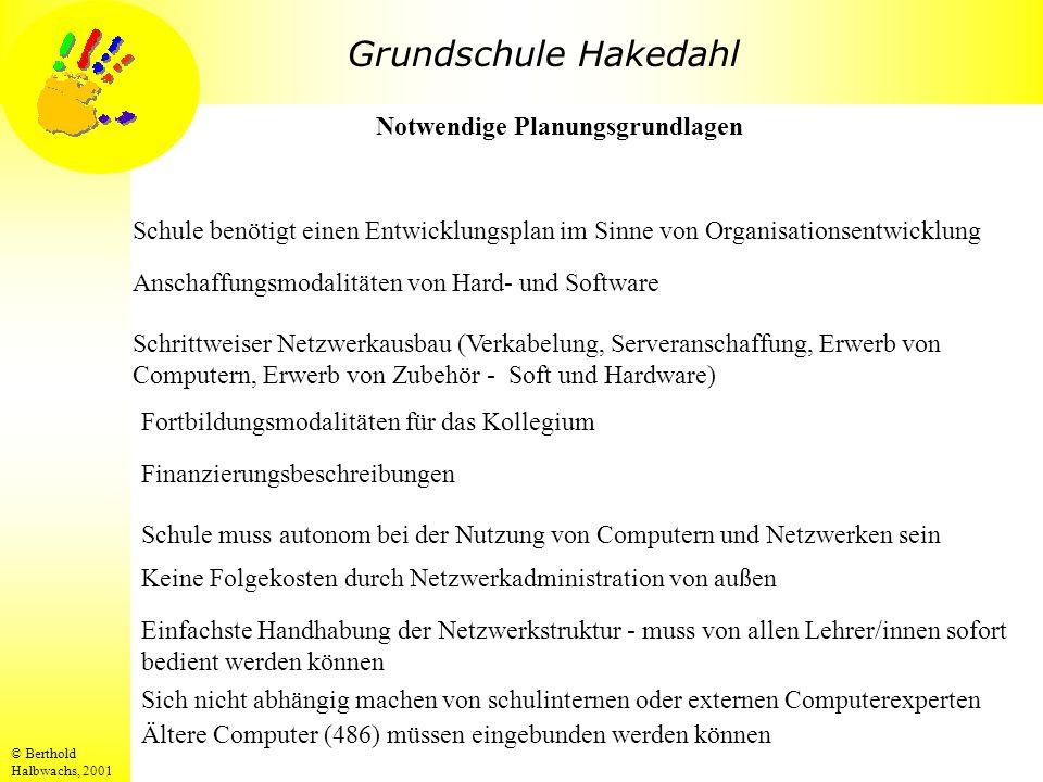 Grundschule Hakedahl © Berthold Halbwachs, 2001 Schule benötigt einen Entwicklungsplan im Sinne von Organisationsentwicklung Notwendige Planungsgrundl