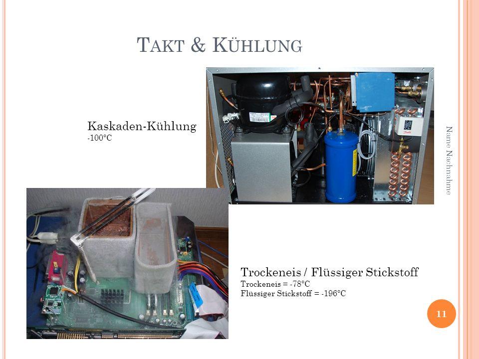 T AKT & K ÜHLUNG 11 Name Nachnahme Kaskaden-Kühlung -100°C Trockeneis / Flüssiger Stickstoff Trockeneis = -78°C Flüssiger Stickstoff = -196°C