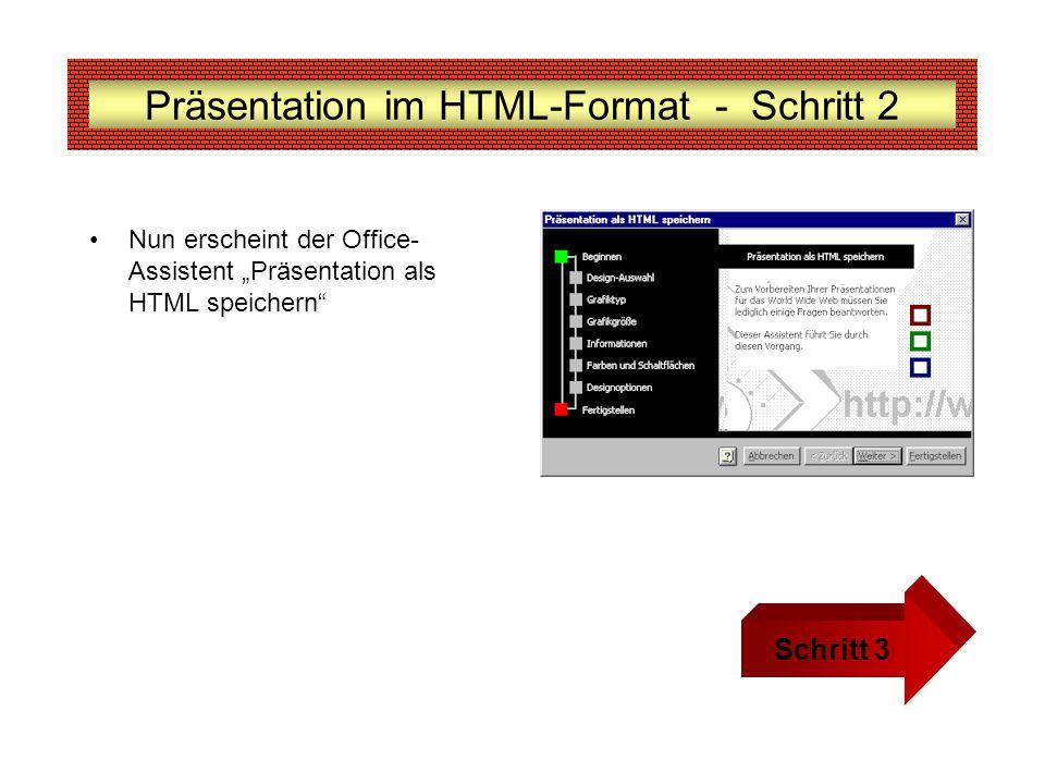 Präsentation im HTML-Format - Schritt 2 Nun erscheint der Office- Assistent Präsentation als HTML speichern Schritt 3