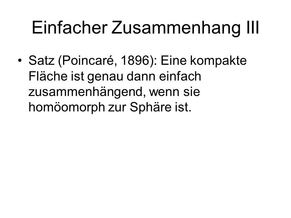 Einfacher Zusammenhang III Satz (Poincaré, 1896): Eine kompakte Fläche ist genau dann einfach zusammenhängend, wenn sie homöomorph zur Sphäre ist.