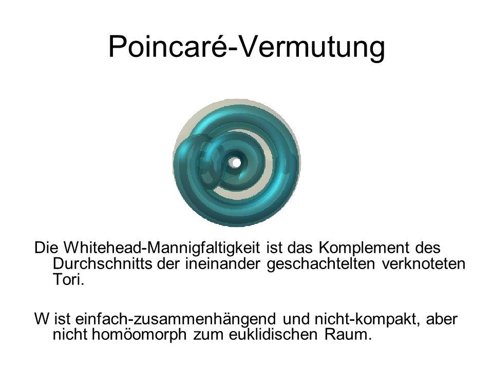 Poincaré-Vermutung Die Whitehead-Mannigfaltigkeit ist das Komplement des Durchschnitts der ineinander geschachtelten verknoteten Tori. W ist einfach-z