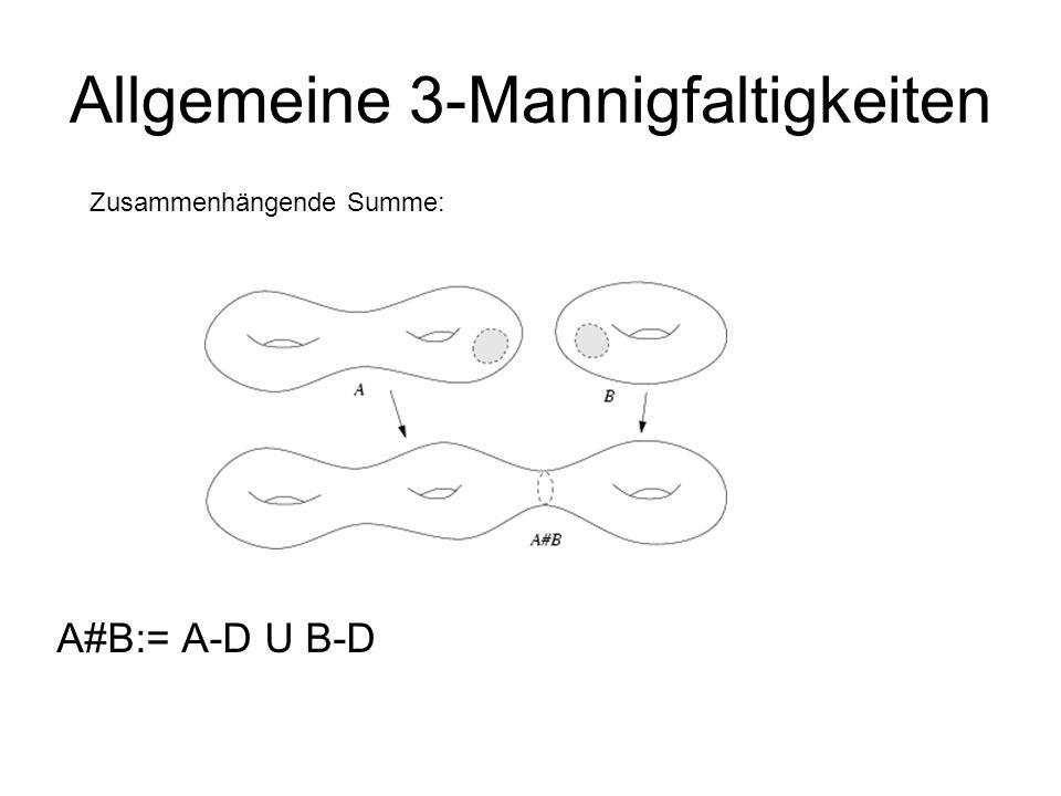 Allgemeine 3-Mannigfaltigkeiten A#B:= A-D U B-D Zusammenhängende Summe: