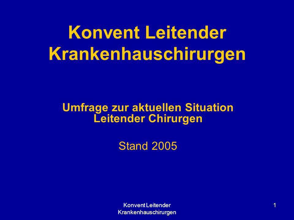 Konvent Leitender Krankenhauschirurgen 1 Umfrage zur aktuellen Situation Leitender Chirurgen Stand 2005