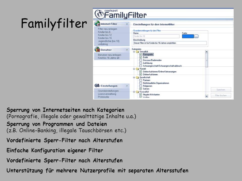 Familyfilter Vordefinierte Sperr-Filter nach Alterstufen Unterstützung für mehrere Nutzerprofile mit separaten Altersstufen Einfache Konfiguration eig
