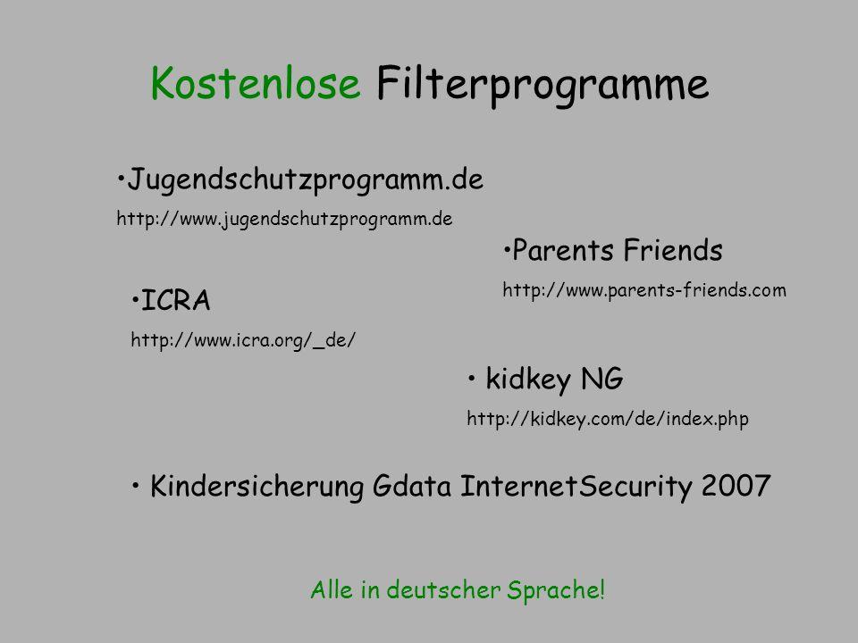 Kostenlose Filterprogramme Alle in deutscher Sprache! Jugendschutzprogramm.de http://www.jugendschutzprogramm.de kidkey NG http://kidkey.com/de/index.