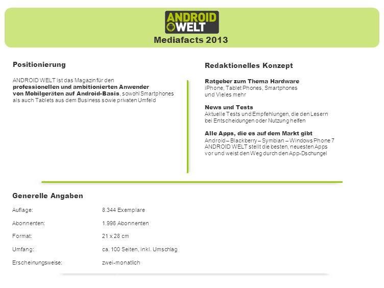 Positionierung ANDROID WELT ist das Magazin für den professionellen und ambitionierten Anwender von Mobilger ä ten auf Android-Basis, sowohl Smartphones als auch Tablets aus dem Business sowie privaten Umfeld Redaktionelles Konzept Ratgeber zum Thema Hardware iPhone, Tablet Phones, Smartphones und Vieles mehr News und Tests Aktuelle Tests und Empfehlungen, die den Lesern bei Entscheidungen oder Nutzung helfen Alle Apps, die es auf dem Markt gibt Android – Blackberry – Symbian – Windows Phone 7 ANDROID WELT stellt die besten, neuesten Apps vor und weist den Weg durch den App-Dschungel Mediafacts 2013 Generelle Angaben Auflage:8.344 Exemplare Abonnenten:1.996 Abonnenten Format:21 x 28 cm Umfang:ca.