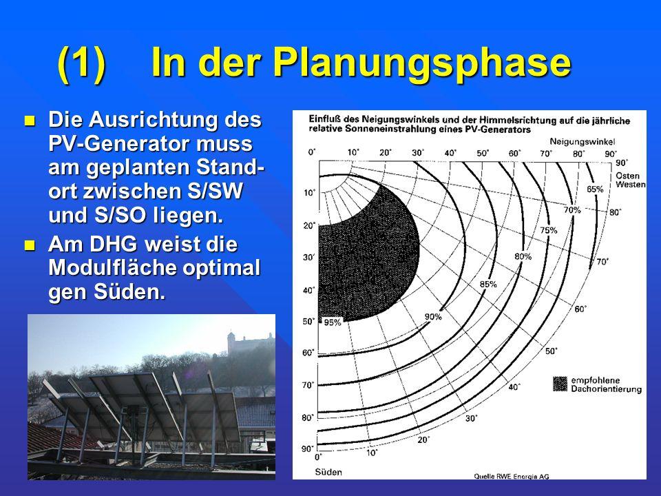 (1) In der Planungsphase Die Ausrichtung des PV-Generator muss am geplanten Stand- ort zwischen S/SW und S/SO liegen. Die Ausrichtung des PV-Generator