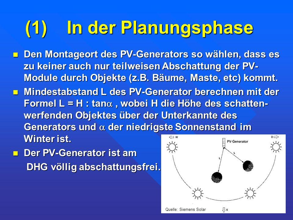 (1) In der Planungsphase Den Montageort des PV-Generators so wählen, dass es zu keiner auch nur teilweisen Abschattung der PV- Module durch Objekte (z