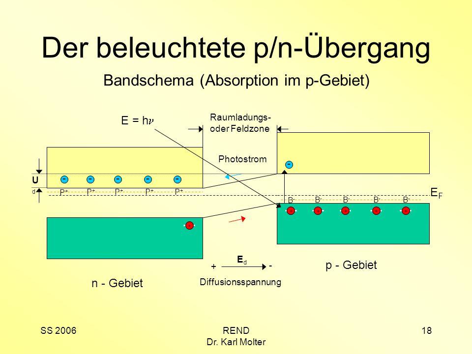 SS 2006REND Dr. Karl Molter 18 p - Gebiet EFEF B-B- B-B- B-B- B-B- B-B- +++ + n - Gebiet ---- P+P+ P+P+ P+P+ P+P+ P+P+ Der beleuchtete p/n-Übergang Ba