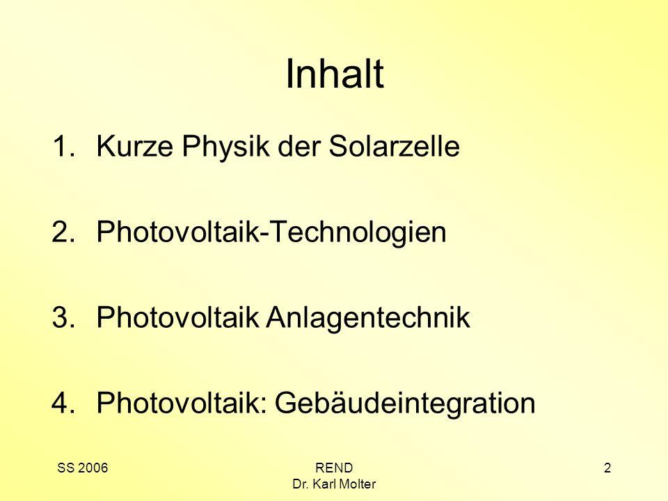 SS 2006REND Dr. Karl Molter 2 Inhalt 1.Kurze Physik der Solarzelle 2.Photovoltaik-Technologien 3.Photovoltaik Anlagentechnik 4.Photovoltaik: Gebäudein