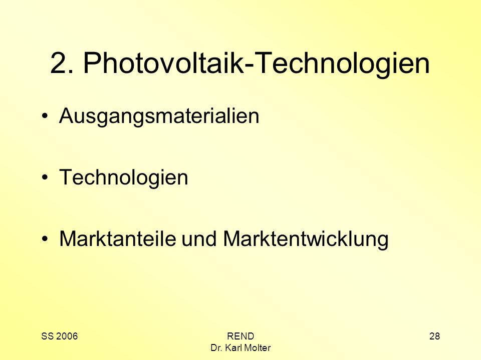 SS 2006REND Dr. Karl Molter 28 2. Photovoltaik-Technologien Ausgangsmaterialien Technologien Marktanteile und Marktentwicklung