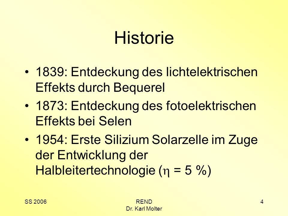 SS 2006REND Dr. Karl Molter 4 Historie 1839: Entdeckung des lichtelektrischen Effekts durch Bequerel 1873: Entdeckung des fotoelektrischen Effekts bei