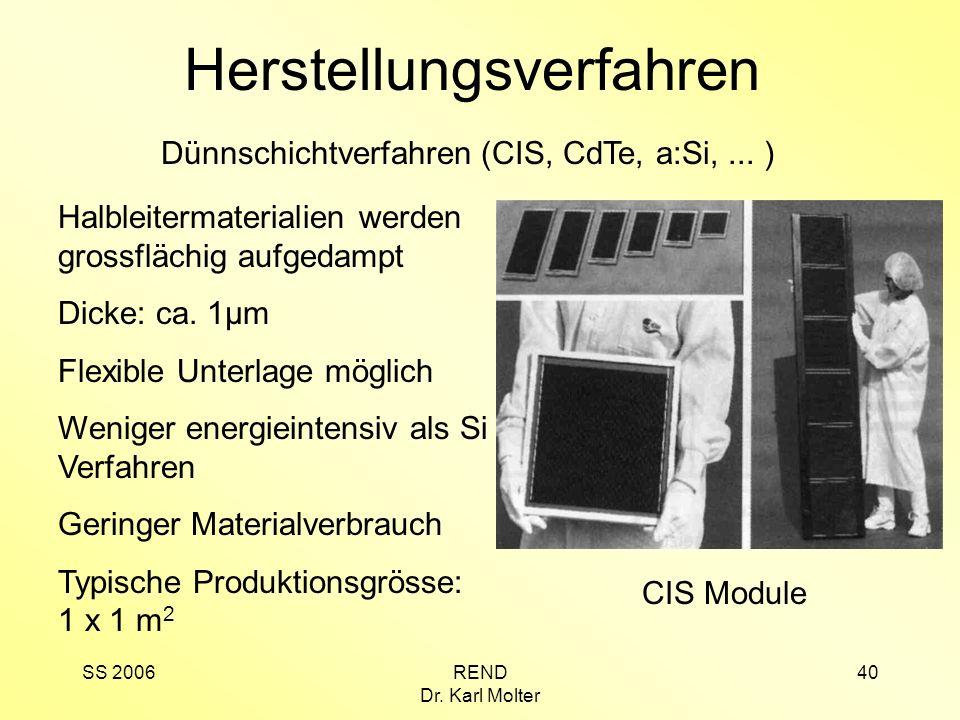 SS 2006REND Dr. Karl Molter 40 Herstellungsverfahren Halbleitermaterialien werden grossflächig aufgedampt Dicke: ca. 1µm Flexible Unterlage möglich We