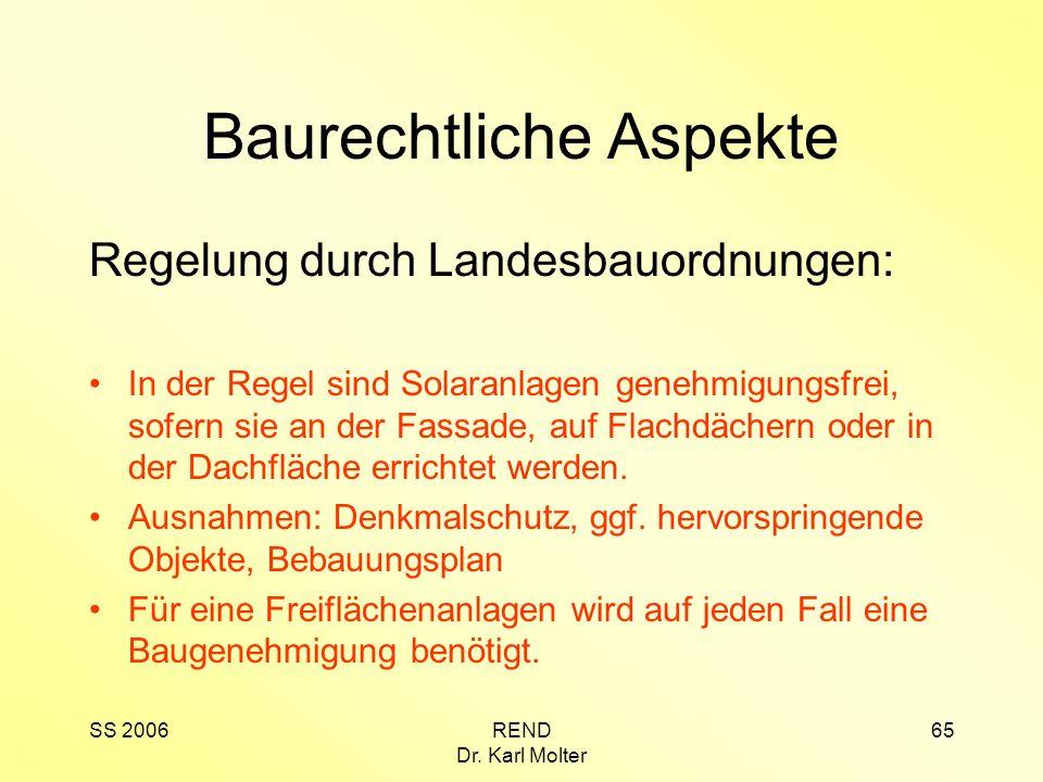 SS 2006REND Dr. Karl Molter 65 Baurechtliche Aspekte Regelung durch Landesbauordnungen: In der Regel sind Solaranlagen genehmigungsfrei, sofern sie an