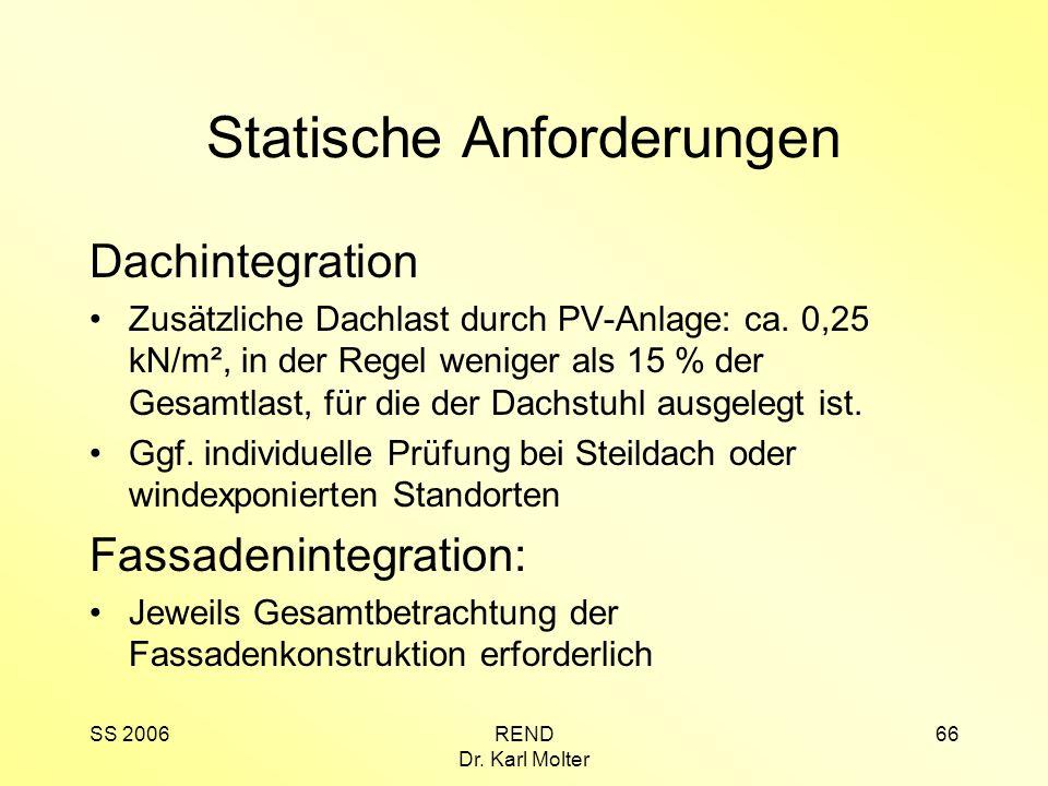 SS 2006REND Dr. Karl Molter 66 Statische Anforderungen Dachintegration Zusätzliche Dachlast durch PV-Anlage: ca. 0,25 kN/m², in der Regel weniger als