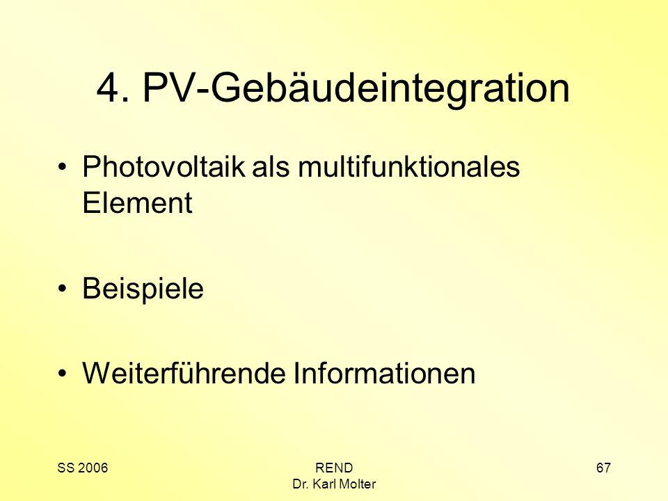 SS 2006REND Dr. Karl Molter 67 4. PV-Gebäudeintegration Photovoltaik als multifunktionales Element Beispiele Weiterführende Informationen