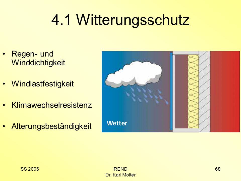 SS 2006REND Dr. Karl Molter 68 4.1 Witterungsschutz Regen- und Winddichtigkeit Windlastfestigkeit Klimawechselresistenz Alterungsbeständigkeit