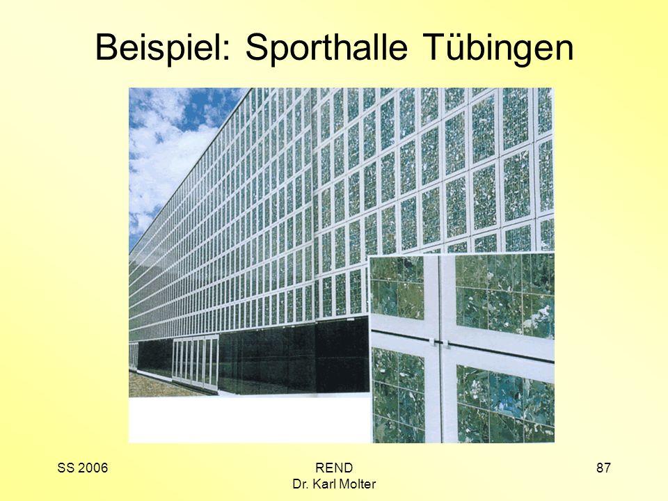 SS 2006REND Dr. Karl Molter 87 Beispiel: Sporthalle Tübingen