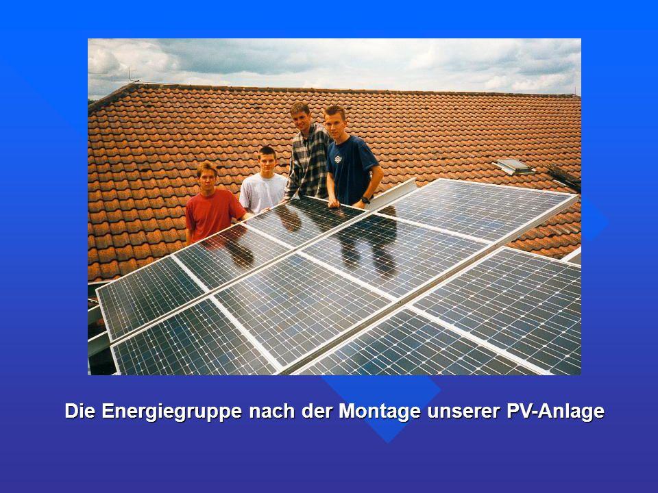 Die Energiegruppe nach der Montage unserer PV-Anlage