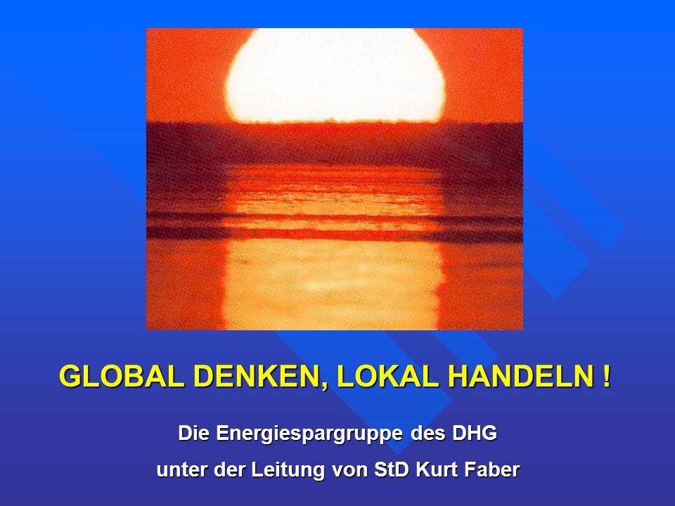 Die Energiespargruppe des DHG unter der Leitung von StD Kurt Faber GLOBAL DENKEN, LOKAL HANDELN !