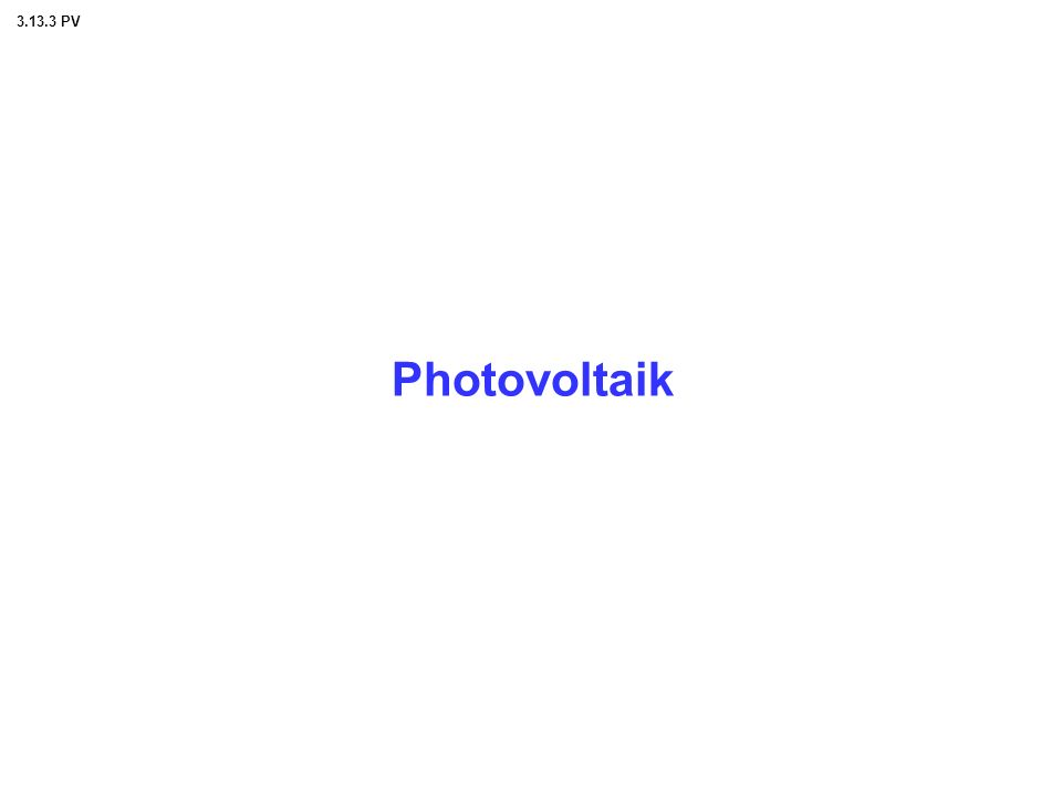 Photovoltaik 3.13.3 PV