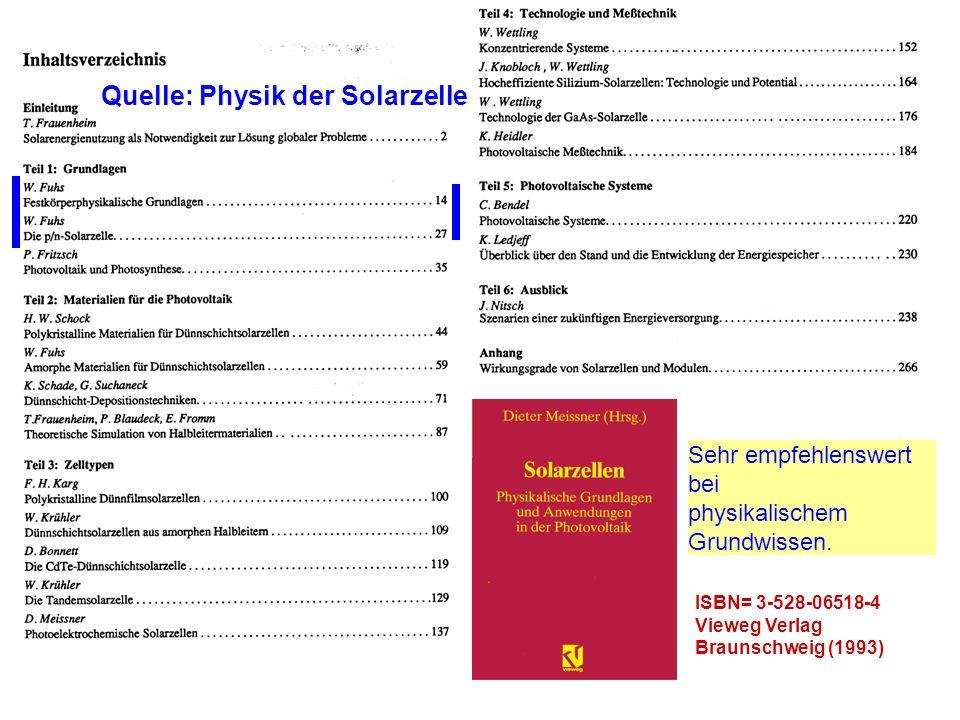 ISBN= 3-528-06518-4 Vieweg Verlag Braunschweig (1993) Sehr empfehlenswert bei physikalischem Grundwissen. Quelle: Physik der Solarzelle