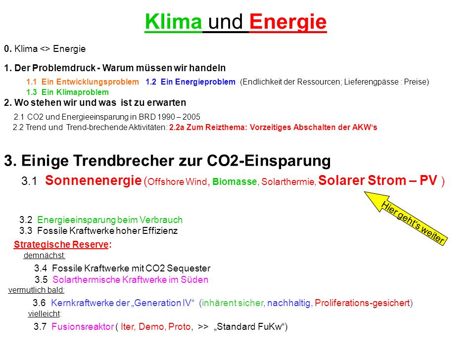 0. Klima <> Energie 1. Der Problemdruck - Warum müssen wir handeln 1.1 Ein Entwicklungsproblem 1.2 Ein Energieproblem (Endlichkeit der Ressourcen; Lie