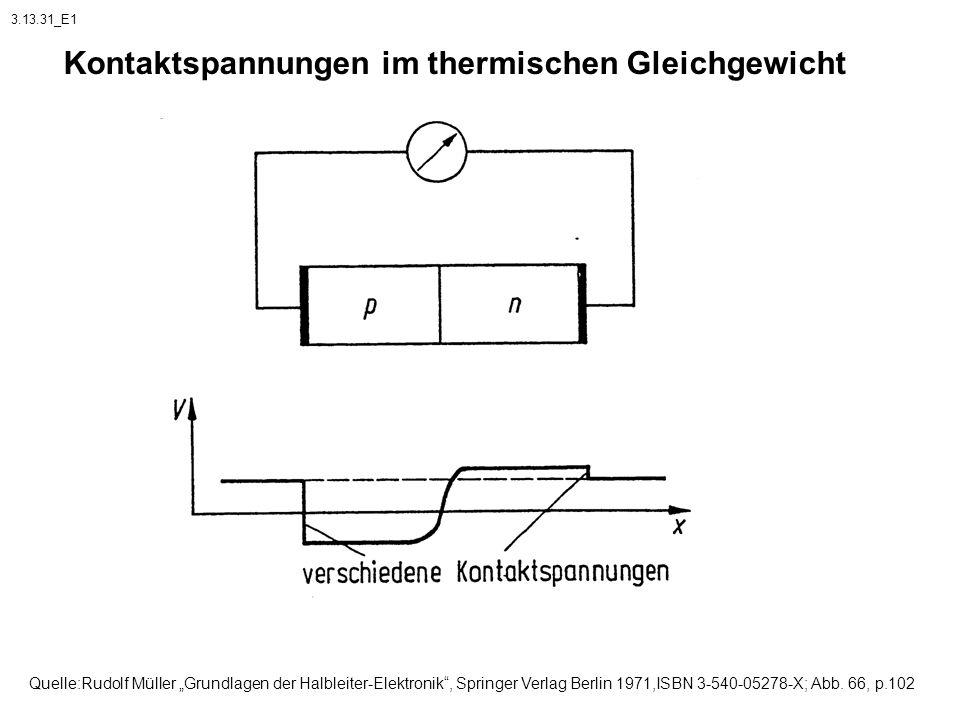 Kontaktspannungen im thermischen Gleichgewicht Quelle:Rudolf Müller Grundlagen der Halbleiter-Elektronik, Springer Verlag Berlin 1971,ISBN 3-540-05278
