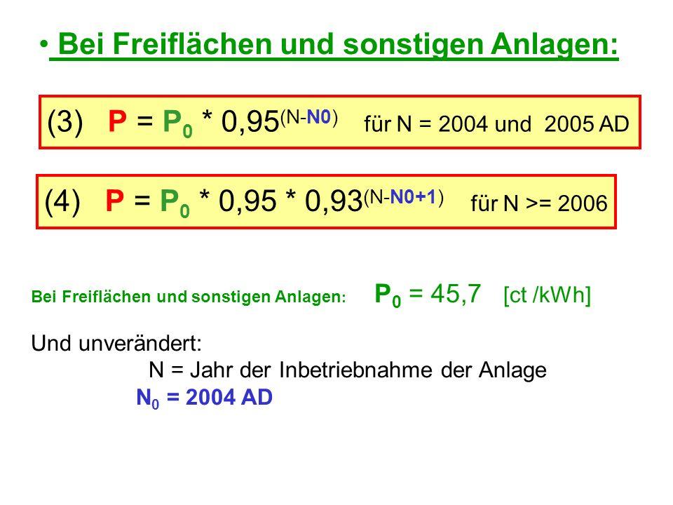 (3) P = P 0 * 0,95 (N-N0) für N = 2004 und 2005 AD Bei Freiflächen und sonstigen Anlagen: Bei Freiflächen und sonstigen Anlagen : P 0 = 45,7 [ct /kWh] Und unverändert: N = Jahr der Inbetriebnahme der Anlage N 0 = 2004 AD (4) P = P 0 * 0,95 * 0,93 (N-N0+1) für N >= 2006