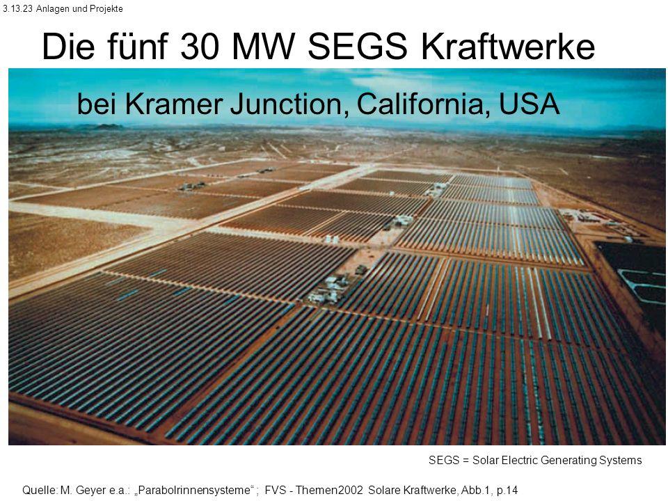 Die fünf 30 MW SEGS Kraftwerke bei Kramer Junction, California, USA SEGS = Solar Electric Generating Systems Quelle: M.