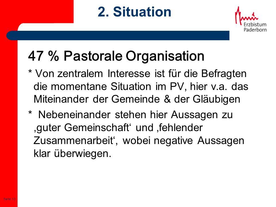 Seite: 13 2. Situation 47 % Pastorale Organisation * Von zentralem Interesse ist für die Befragten die momentane Situation im PV, hier v.a. das Mitein