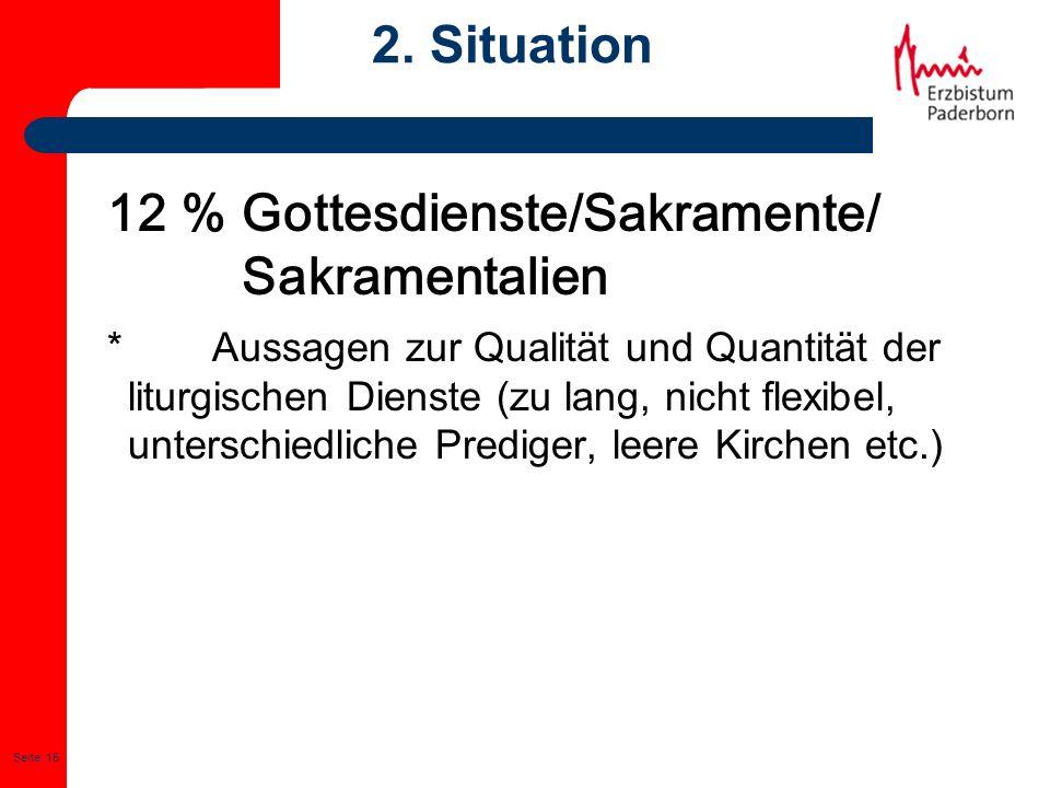 Seite: 15 2. Situation 12 % Gottesdienste/Sakramente/ Sakramentalien * Aussagen zur Qualität und Quantität der liturgischen Dienste (zu lang, nicht fl