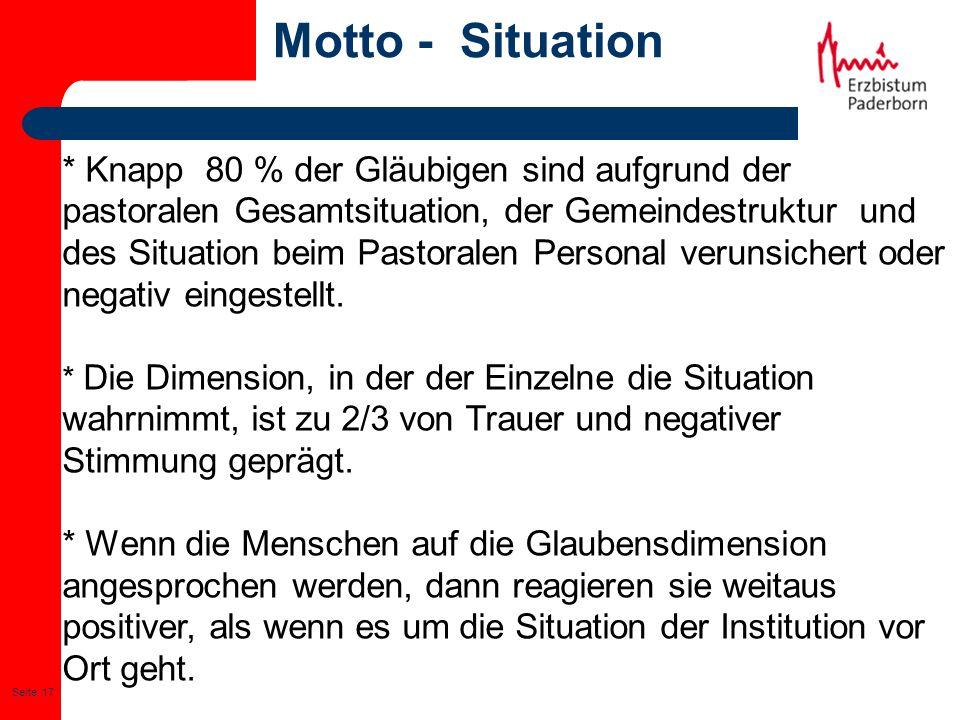 Seite: 17 Motto - Situation * Knapp 80 % der Gläubigen sind aufgrund der pastoralen Gesamtsituation, der Gemeindestruktur und des Situation beim Pasto