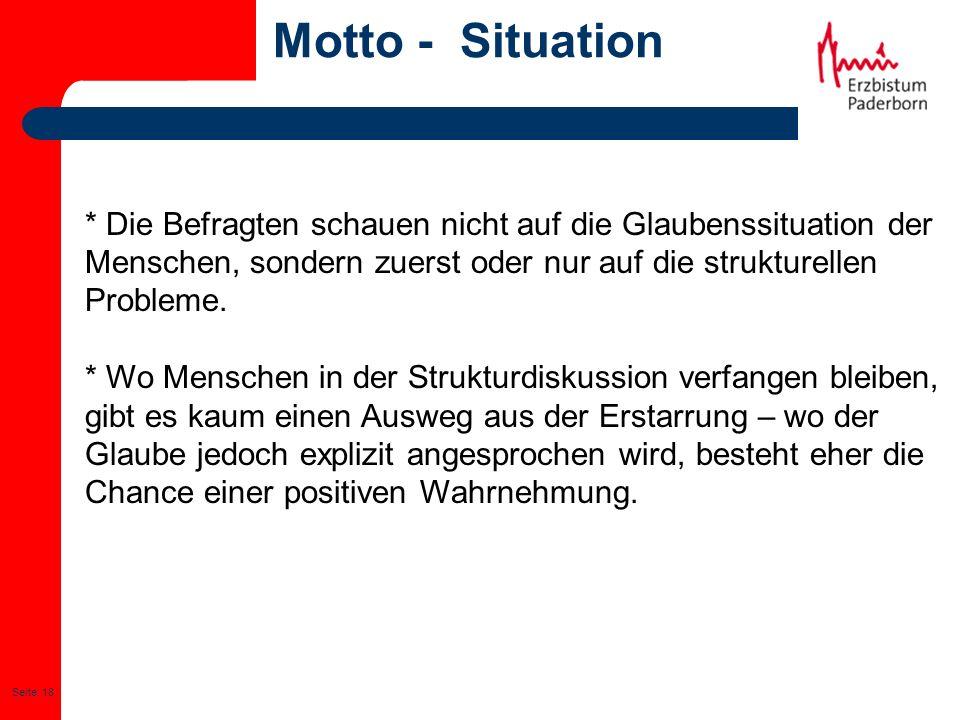 Seite: 18 Motto - Situation * Die Befragten schauen nicht auf die Glaubenssituation der Menschen, sondern zuerst oder nur auf die strukturellen Proble