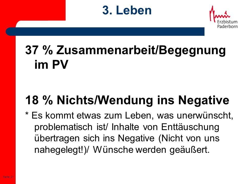 Seite: 21 3. Leben 37 % Zusammenarbeit/Begegnung im PV 18 % Nichts/Wendung ins Negative * Es kommt etwas zum Leben, was unerwünscht, problematisch ist