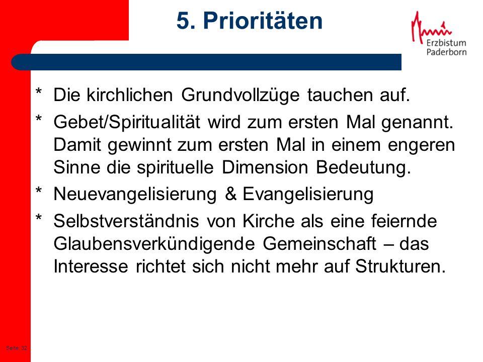Seite: 32 5. Prioritäten * Die kirchlichen Grundvollzüge tauchen auf. * Gebet/Spiritualität wird zum ersten Mal genannt. Damit gewinnt zum ersten Mal