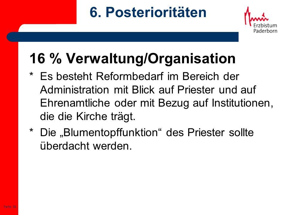 Seite: 36 6. Posterioritäten 16 % Verwaltung/Organisation * Es besteht Reformbedarf im Bereich der Administration mit Blick auf Priester und auf Ehren