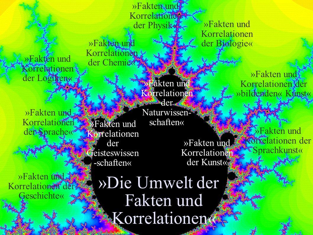 »Die Umwelt der Fakten und Korrelationen« »Fakten und Korrelationen der Chemie« »Fakten und Korrelationen der Physik« »Fakten und Korrelationen der Lo