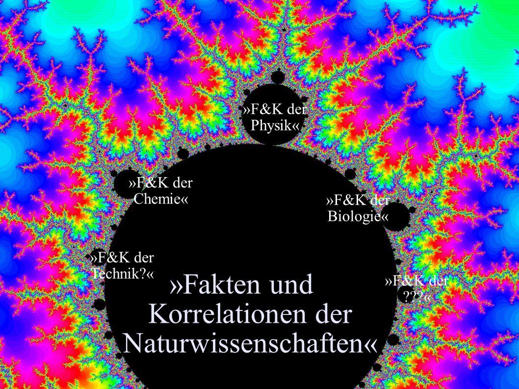 »Fakten und Korrelationen der Naturwissenschaften« »F&K der Physik« »F&K der Biologie« »F&K der Chemie« »F&K der Technik?« »F&K der ???«