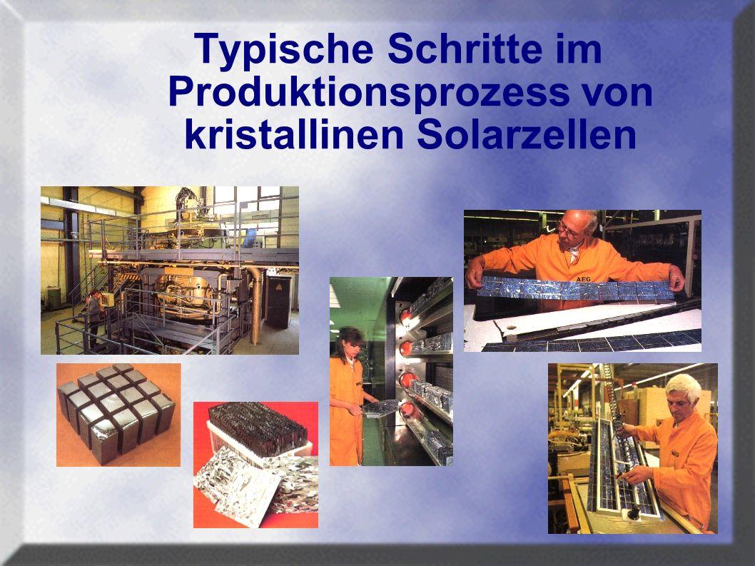 Typische Schritte im Produktionsprozess von kristallinen Solarzellen