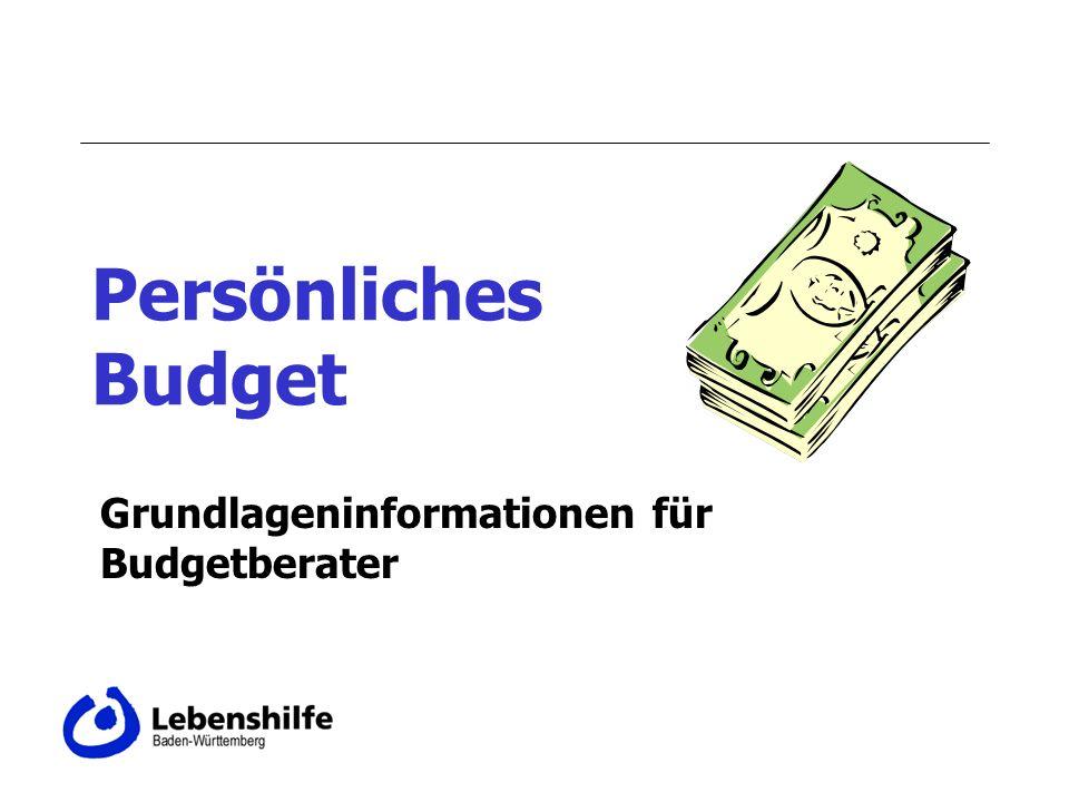 Persönliches Budget Grundlageninformationen für Budgetberater
