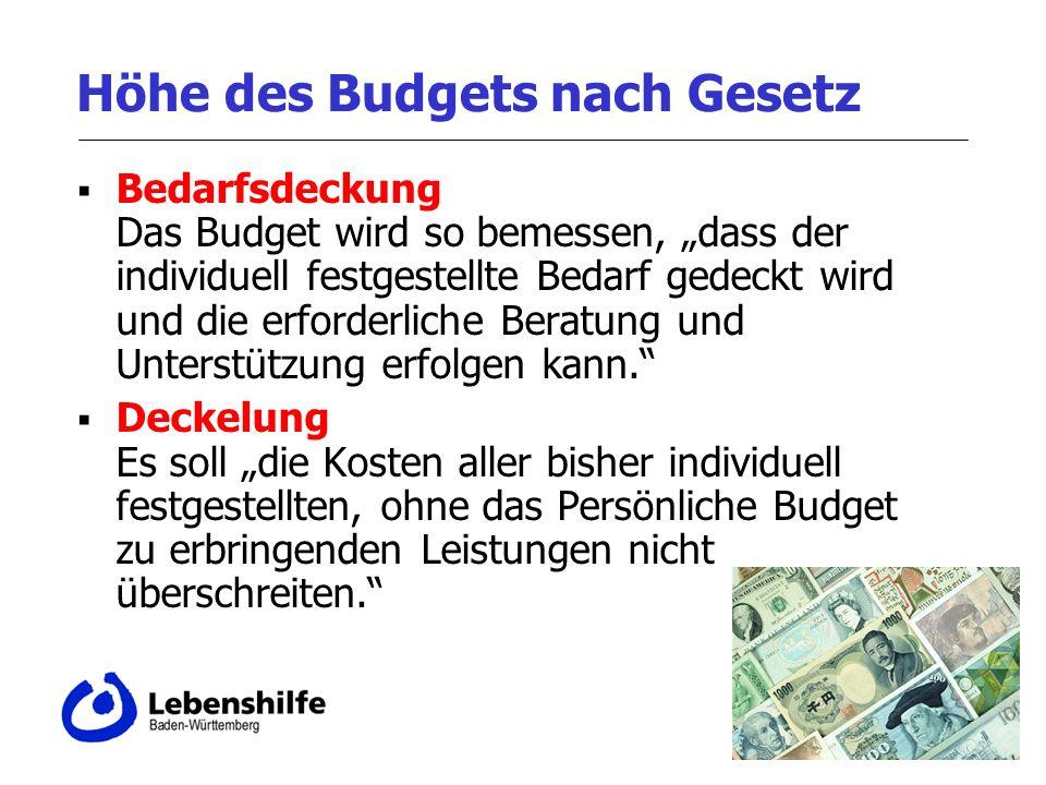 Höhe des Budgets nach Gesetz Bedarfsdeckung Das Budget wird so bemessen, dass der individuell festgestellte Bedarf gedeckt wird und die erforderliche Beratung und Unterstützung erfolgen kann.