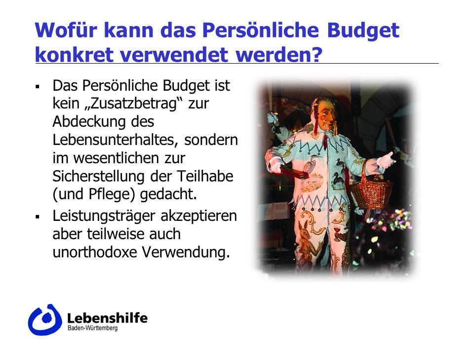 Wofür kann das Persönliche Budget konkret verwendet werden? Das Persönliche Budget ist kein Zusatzbetrag zur Abdeckung des Lebensunterhaltes, sondern