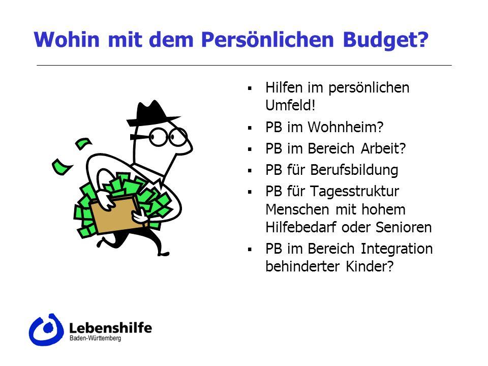 Wohin mit dem Persönlichen Budget.Hilfen im persönlichen Umfeld.