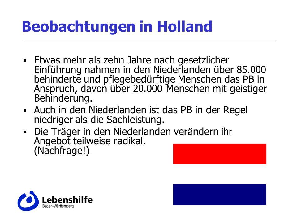 Beobachtungen in Holland Etwas mehr als zehn Jahre nach gesetzlicher Einführung nahmen in den Niederlanden über 85.000 behinderte und pflegebedürftige Menschen das PB in Anspruch, davon über 20.000 Menschen mit geistiger Behinderung.